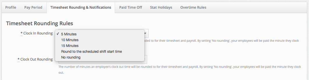 timesheet rounding and notifications makeshift support