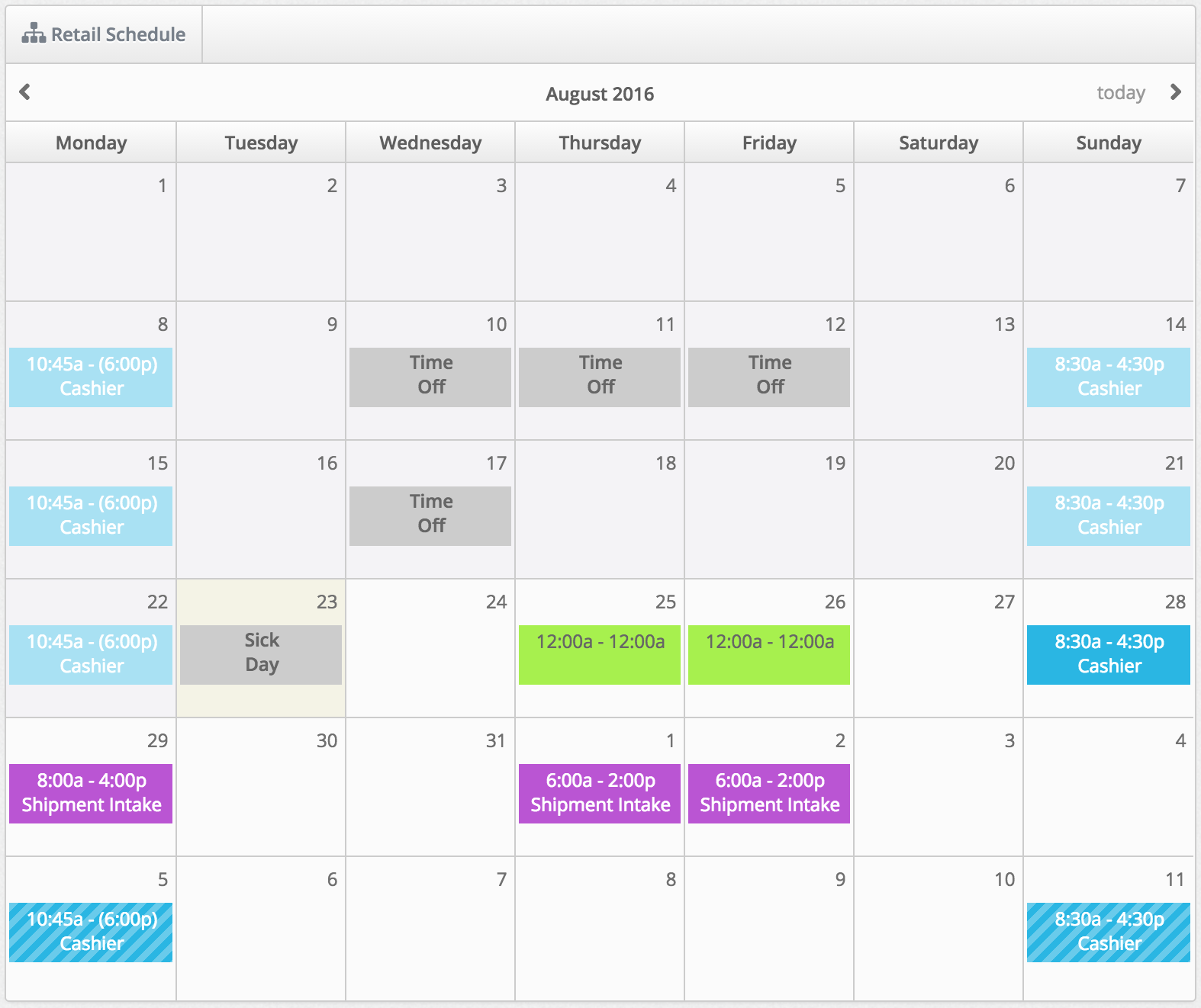 view monthly employee schedule makeshift support